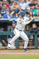 Michigan Wolverines designated hitter Dominic Clementi (13) at bat against the Vanderbilt Commodores during Game 2 of the NCAA College World Series Finals on June 25, 2019 at TD Ameritrade Park in Omaha, Nebraska. Vanderbilt defeated Michigan 4-1. (Andrew Woolley/Four Seam Images)