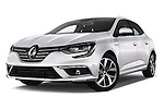 Stock pictures of low aggressive front three quarter view of 2016 Renault Megane Bose 5 Door Hatchback Low Aggressive