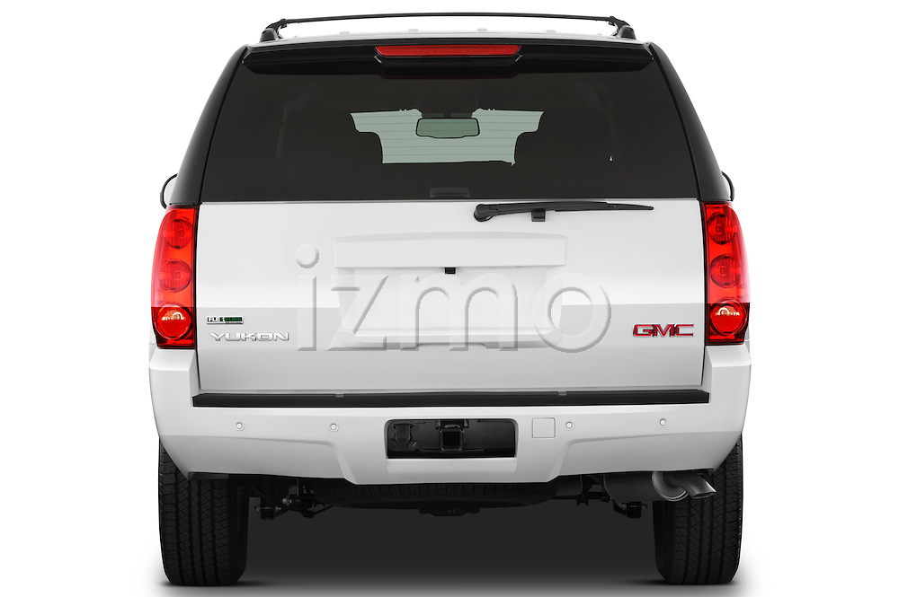 Straight rear view of a 2012 GMC Yukon SLE