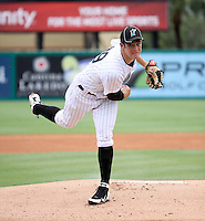 GCL Marlins pitcher Mason Hope #29 delivers a pitch during game three of the GCL Championship Series against the GCL Yankees at Roger Dean Stadium on August 31, 2011 in Jupiter, Florida.  GCL Yankees defeated the GCL Marlins 3-1 to capture the league championship.  (Stacy Grant/Four Seam Images)