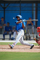 Toronto Blue Jays Mc Gregory Contreras (25) follows through on a swing during an Instructional League game against the Philadelphia Phillies on October 7, 2017 at the Englebert Complex in Dunedin, Florida.  (Mike Janes/Four Seam Images)