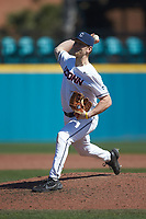 Connecticut Huskies starting pitcher Ben Casparius (5) in action against the Miami Redhawks at Springs Brooks Stadium on March 5, 2021 in Conway, South Carolina. The Huskies defeated the Redhawks 5-0. (Brian Westerholt/Four Seam Images)