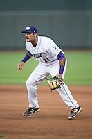 Winston-Salem Dash first baseman Nick Basto (21) on defense against the Myrtle Beach Pelicans at BB&T Ballpark on May 2, 2016 in Winston-Salem, North Carolina.  The Pelicans defeated the Dash 3-2 in 11 innings.  (Brian Westerholt/Four Seam Images)
