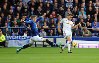 Liverpool, UK. Saturday 01 November 2014<br /> Pictured: Angel Rangel of Swansea (R) is challenged by Ross Barkley of Everton (L). <br /> Re: Premier League Everton v Swansea City FC at Goodison Park, Liverpool, Merseyside, UK.