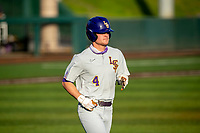LSU Tigers third baseman Cade Doughty (4) jogs to first base against the Tennessee Volunteers on Robert M. Lindsay Field at Lindsey Nelson Stadium on March 26, 2021, in Knoxville, Tennessee. (Danny Parker/Four Seam Images)