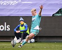 20th March 2021; Recreation Ground, Bath, Somerset, England; English Premiership Rugby, Bath versus Worcester Warriors; Fin Smith of Worcester Warriors kicks a conversion