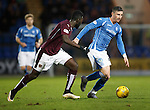 St Johnstone v Hearts..19.12.15  SPFL  McDiarmid Park, Perth<br /> Michael O'Halloran and Prince Buaben<br /> Picture by Graeme Hart.<br /> Copyright Perthshire Picture Agency<br /> Tel: 01738 623350  Mobile: 07990 594431