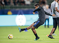 CARSON, CA - SEPTEMBER 21: Shamit Shome #28 of the Montreal Impact warms up during a game between Montreal Impact and Los Angeles Galaxy at Dignity Health Sports Park on September 21, 2019 in Carson, California.