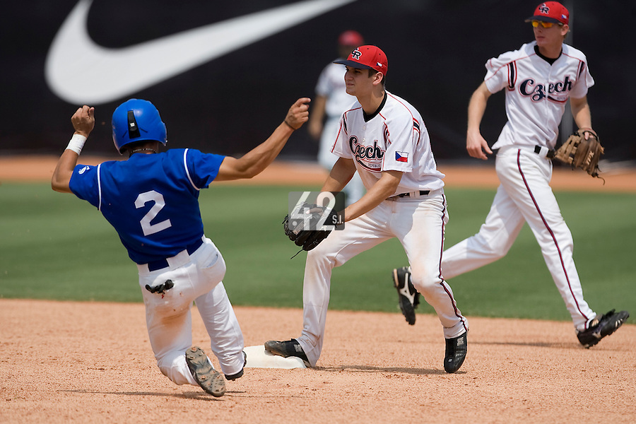 23 August 2007: #2 Sebastien Herve steals second base during the France 8-4 victory over Czech Republic in the Good Luck Beijing International baseball tournament (olympic test event) at the Wukesong Baseball Field in Beijing, China.