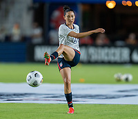 HOUSTON, TX - JUNE 13: Christen Press #23 of the USWNT warms up before a game between Jamaica and USWNT at BBVA Stadium on June 13, 2021 in Houston, Texas.