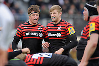 20130324 Copyright onEdition 2013©.Free for editorial use image, please credit: onEdition..Ernst Joubert (left) and George Kruis of Saracens during the Premiership Rugby match between Saracens and Harlequins at Allianz Park on Sunday 24th March 2013 (Photo by Rob Munro)..For press contacts contact: Sam Feasey at brandRapport on M: +44 (0)7717 757114 E: SFeasey@brand-rapport.com..If you require a higher resolution image or you have any other onEdition photographic enquiries, please contact onEdition on 0845 900 2 900 or email info@onEdition.com.This image is copyright onEdition 2013©..This image has been supplied by onEdition and must be credited onEdition. The author is asserting his full Moral rights in relation to the publication of this image. Rights for onward transmission of any image or file is not granted or implied. Changing or deleting Copyright information is illegal as specified in the Copyright, Design and Patents Act 1988. If you are in any way unsure of your right to publish this image please contact onEdition on 0845 900 2 900 or email info@onEdition.com