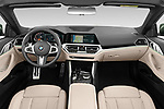 Stock photo of straight dashboard view of 2021 BMW 4-Series M-Sport 2 Door Convertible Dashboard