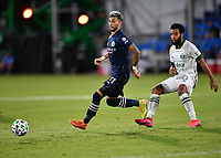 LAKE BUENA VISTA, FL - AUGUST 01: Valentín Castellanos #11 of New York City FC passes away from Eryk Williamson #30 of the Portland Timbers during a game between Portland Timbers and New York City FC at ESPN Wide World of Sports on August 01, 2020 in Lake Buena Vista, Florida.