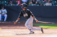 Lansing Lugnuts second baseman Samad Taylor (1) swings at a pitch during a Midwest League game against the Clinton LumberKings on July 15, 2018 at Ashford University Field in Clinton, Iowa. Clinton defeated Lansing 6-2. (Brad Krause/Four Seam Images)