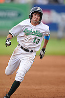 Aaron Barbosa #3 of the Clinton LumberKings runs to third base against the West Michigan Whitecaps at Ashford University Field on July  25, 2014 in Clinton, Iowa. The Whitecaps won 9-0.   (Dennis Hubbard/Four Seam Images)