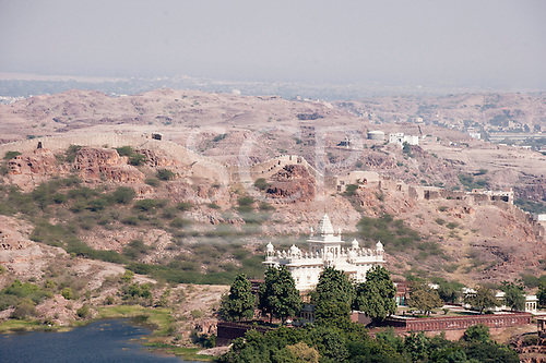 Jodhpur, India. Jaswant Thada  mausoleum. White marble cenotaph, in memory of the Maharaja. Arid landscape.