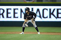 Ramon Beltre (1) of the Kannapolis Intimidators takes his lead off of second base against the Augusta GreenJackets at SRG Park on July 6, 2019 in North Augusta, South Carolina. The Intimidators defeated the GreenJackets 9-5. (Brian Westerholt/Four Seam Images)