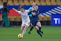Swiss Ramona Bachmann (10) and French Charlotte Bilbault (14) during the Womens International Friendly game between France and Switzerland at Stade Saint-Symphorien in Longeville-lès-Metz, France.