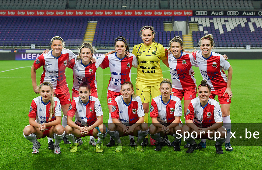 Linfields players with Nicole Adams (1) , Mia Fitzsimmons (2) , Louise McFrederick (3) , Ashley Hutton (5) , Victoria Carleton (7) , Casey Howe (8) , Rebecca Bassett (9) , Kelsie Burrows (14) , Rebecca McKenna (18) , Abbie Magee (19) and Naomi Donnan (25) pictured posing for the teampicture during a female soccer game between RSC Anderlecht Dames and Northern Irish Linfield Ladies  in the first qualifying round for the Uefa Womens Champions League of the 2020 - 2021 season , Wednesday 4 th of November 2020  in ANDERLECHT , Belgium . PHOTO SPORTPIX.BE | SPP | DAVID CATRY