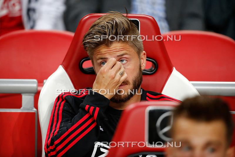 Nederland, Amsterdam, 15 augustus 2015<br /> Eredivisie<br /> Seizoen 2015-2016<br /> Ajax-Willem ll (3-0)<br /> Lasse Schone van Ajax zit op de reservebank