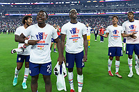 LAS VEGAS, NV - AUGUST 1: George Bello #21 Gyasi Zardes #9 of the United States during a game between Mexico and USMNT at Allegiant Stadium on August 1, 2021 in Las Vegas, Nevada.