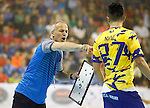 Bosnia Herzegovina's coach Bilal Suman with his player Tomislav Nuic during 2018 Men's European Championship Qualification 2 match. November 2,2016. (ALTERPHOTOS/Acero)