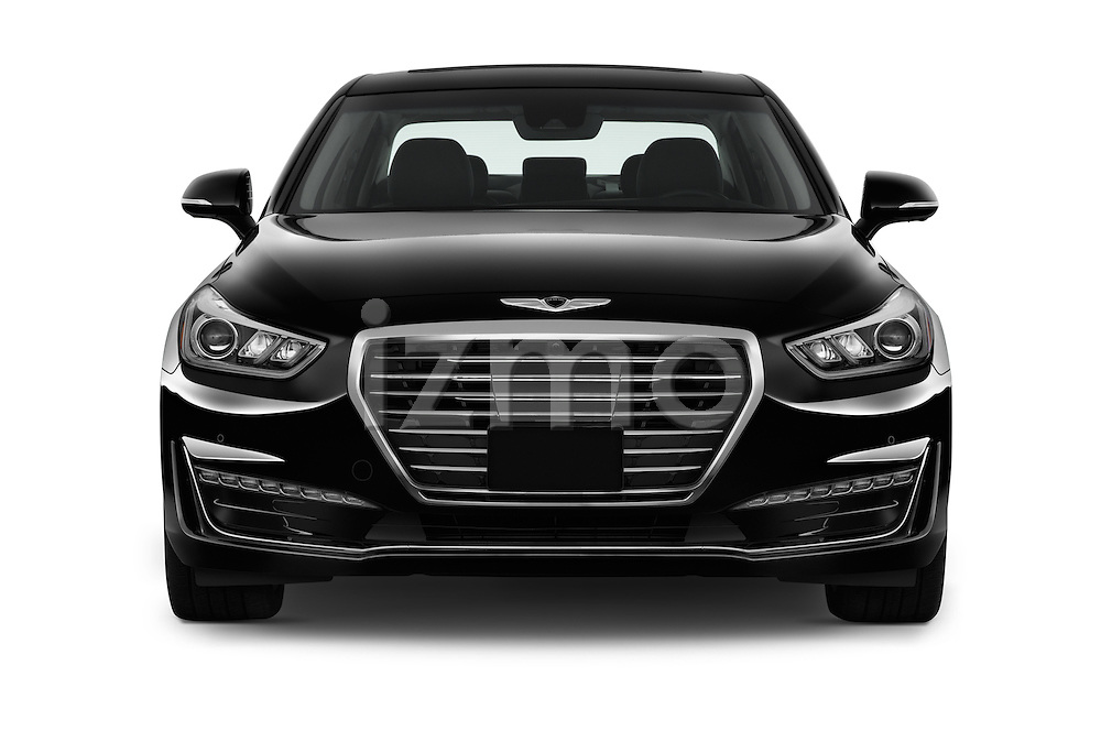 Car photography straight front view of a 2018 Genesis G90 Ultimate 4 Door Sedan Front View