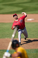Harrisburg Senators pitcher Carson Teel (4) during a game against the Erie Seawolves on September 5, 2021 at UPMC Park in Erie, Pennsylvania.  (Mike Janes/Four Seam Images)