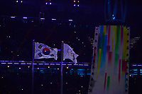 OLYMPIC GAMES: PYEONGCHANG: 09-02-2018, PyeongChang Olympic Stadium, Olympic Games, Opening Ceremony, Korean flag and Olympic flag, ©photo Martin de Jong