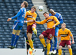Motherwell v St Johnstone.....16.04.11  Scottish Cup Semi-Final.Shaun Hutchison and John Sutton get between Murray Davidson and Michael Duberry.Picture by Graeme Hart..Copyright Perthshire Picture Agency.Tel: 01738 623350  Mobile: 07990 594431