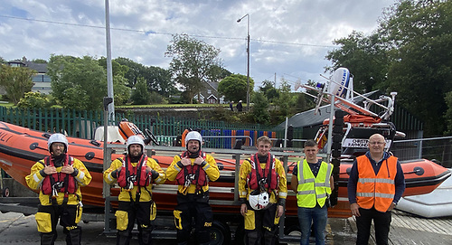 First call-out - The Union Hall RNLI Volunteer Lifeboat crew (from left to right) Richie O'Mahony, Stephen Hurley, Tim Forde, Charlie Deasy, Sean Walsh and Jim Moloney