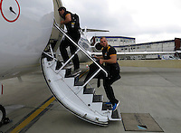 Photo: Richard Lane/Richard Lane Photography. Wasps rugby team and supporters travel to Toulon for the RC Toulon v Wasps.  European Rugby Champions Cup Quarter Final. 04/04/2015. James Haskell looks happy to be getting on the way.