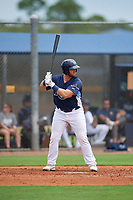 GCL Rays Ryan Fineman (34) at bat during a Gulf Coast League game against the GCL Pirates on August 7, 2019 at Charlotte Sports Park in Port Charlotte, Florida.  GCL Rays defeated the GCL Pirates 5-3 in the second game of a doubleheader.  (Mike Janes/Four Seam Images)