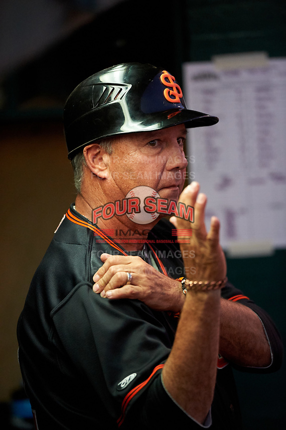 San Jose Giants fundamentals coach Gary Davenport (12) during a California League game against the Visalia Rawhide on April 12, 2019 at San Jose Municipal Stadium in San Jose, California. Visalia defeated San Jose 6-2. (Zachary Lucy/Four Seam Images)