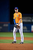 St. Lucie Mets starting pitcher Josh Prevost (27) gets ready to deliver a pitch during the second game of a doubleheader against the Charlotte Stone Crabs on April 24, 2018 at First Data Field in Port St. Lucie, Florida.  St. Lucie defeated Charlotte 6-5.  (Mike Janes/Four Seam Images)