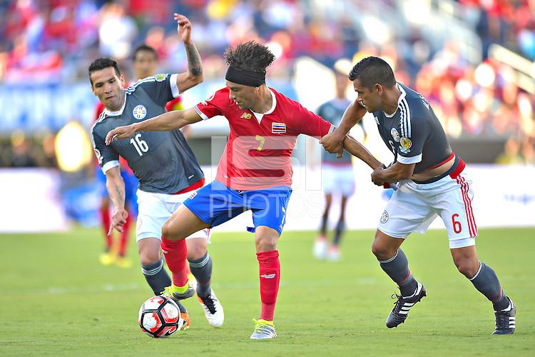 Action photo during the match Costa Rica vs Paraguay, Corresponding Group -A- America Cup Centenary 2016, at Citrus Bowl Stadium<br /> <br /> Foto de accion durante el partido Estados Unidos vs Colombia, Correspondiante al Grupo -A-  de la Copa America Centenario USA 2016 en el Estadio Citrus Bowl, en la foto: (i-d), Christian Bolanos de Costa Rica y Miguel Samudio de Paraguay<br /> <br /> <br /> <br /> 04/06/2016/MEXSPORT/Isaac Ortiz.