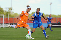 Kelly Parker (7) of Sky Blue FC and Heather Mitts (2) of the Boston Breakers. Sky Blue FC defeated the Boston Breakers 1-0 during a Women's Professional Soccer match at Yurcak Field in Piscataway, NJ, on July 4, 2009.