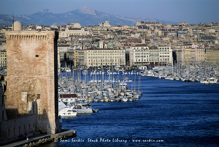 Entrance to the Old Port of Marseille, France.