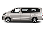 Car driver side profile view of a 2018 Peugeot Traveller Business 4 Door Mini Van