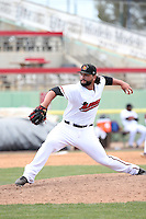 Joe Filomeno (31) of the High Desert Mavericks pitches against the Rancho Cucamonga Quakes at Heritage Field on May 8, 2016 in Adelanto, California. Rancho Cucamonga defeated High Desert, 11-5. (Larry Goren/Four Seam Images)