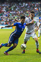United States' defender DeAndre Yedlin (2) challenges Mexico's defender Efrain Velarde (7) for the ball during an international friendly at the Alamodome, Wednesday, April 15, 2015 in San Antonio, Tex. USA defeated Mexico 2-0. (Mo Khursheed/TFV Media via AP Images)