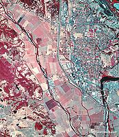infrared aerial photograph of Healdsburg, Sonoma County, California
