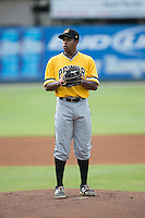West Virginia Power starting pitcher Stephen Tarpley (46) looks to his catcher for the sign against the Kannapolis Intimidators at Intimidators Stadium on July 2, 2015 in Kannapolis, North Carolina.  The Power defeated the Intimidators 5-1.  (Brian Westerholt/Four Seam Images)