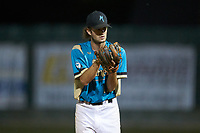 Mooresville Spinners relief pitcher Max LeCroy (12) (Lenoir Rhyne) looks to his catcher for the sign against the Dry Pond Blue Sox at Moor Park on July 2, 2020 in Mooresville, NC.  The Spinners defeated the Blue Sox 9-4. (Brian Westerholt/Four Seam Images)
