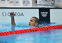 August 04, 2012..Oussama Mellouli reacts after third place finish in Men's 1500m Freestyle Final at the Aquatics Center on day eight of 2012 Olympic Games in London, United Kingdom.
