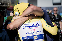 yellow jersey / GC leader Julian Alaphilippe (FRA/Deceuninck - Quick-Step) surprisingly wins the TT stage around Pau and is overjoyed when he finds his crew at the finish<br /> <br /> Stage 13 (ITT): Pau to Pau (27km)<br /> 106th Tour de France 2019 (2.UWT)<br /> <br /> ©kramon