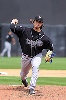 Lansing Lugnuts pitcher Maverik Buffo (44) delivers a pitch between innings during a Midwest League game against the Wisconsin Timber Rattlers on May 8, 2018 at Fox Cities Stadium in Appleton, Wisconsin. Lansing defeated Wisconsin 11-4. (Brad Krause/Four Seam Images)