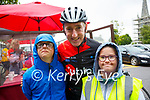 Circuit Of Munster; Dale O'Carroll, Listowel & Jessica Power, Abbeyfeal pictured with Sean Kelly at the circuit of Munster charity cycle in aid of Down Syndrrome Ireland on the cycles stop off in Listowel on Friday last.