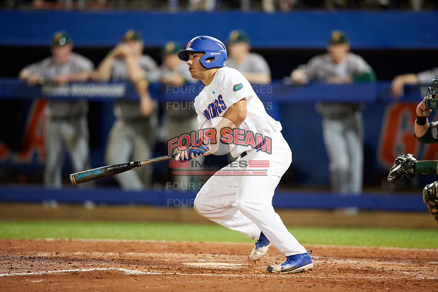 Florida Gators center fielder Nick Horvath (26) at bat during a game against the Siena Saints on February 16, 2018 at Alfred A. McKethan Stadium in Gainesville, Florida.  Florida defeated Siena 7-1.  (Mike Janes/Four Seam Images)