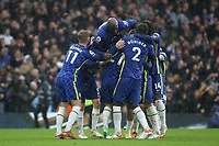 Chelsea players congratulate Ben Chilwell after scoring their third goal during Chelsea vs Southampton, Premier League Football at Stamford Bridge on 2nd October 2021